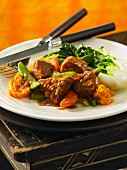 Beef ragout with a hoisin and ginger sauce