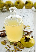 Homemade quince syrup