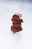 A stack of chocolate pieces