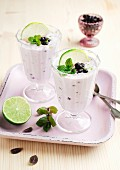 Lime cream with blackcurrants and mint