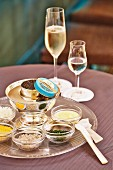 Caviar and champagne in a restaurant