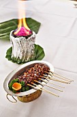Marinated beef satay kebabs