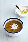 Lentil soup with pumpkin and sour cream
