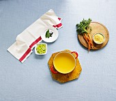 Quick chicken soup and ingredients