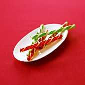 Candy canes on a white plate