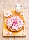 Mazurek (Easter cake, Poland) with rose jam, mascarpone and sugared rose petals