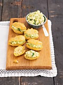 Eclairs with avocado paste