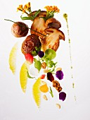 An arrangement featuring porcini mushrooms and ingredients