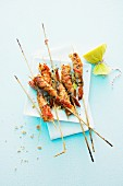 Grilled king prawn skewers with chilli peppers and ginger