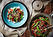 Beef with mange tout and pepper (Asia)