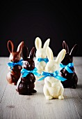Chocolate Easter bunnies with blue bows