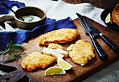 Chicken escalopes with a Parmesan coating