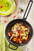 Colourful stir fried vegetables with Brussels sprouts