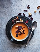 Root vegetable soup with vegetable chips