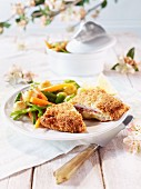 Young wild boar cordon bleu with vegetables