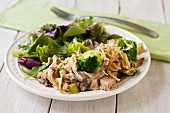 Chicken and broccoli casserole with salad