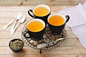 Silverweed tea and dried tea leaves