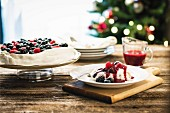 Pavlova with berries for Christmas
