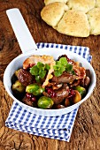 Venison ragout with Brussels sprouts and bacon