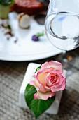 Tischdeko mit Rosenblüte neben Wasserglas