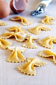 Homemade farfalle with egg