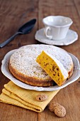 Pumpkin and amaretto cake, sliced