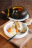 Pumpkin with taleggio, fontina and gorgonzola (pumpkin fondue)