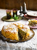 Pastilla wiht pistachios and icing sugar (Marocco)