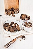 Bowls of fresh morel mushrooms
