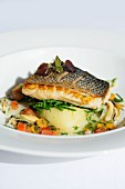 Bass with mussels, saltwort and mashed potatoes