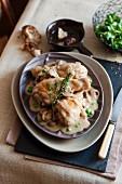 Chicken, pea and mushroom hotpot