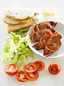 Ingredients for BLT sandwiches