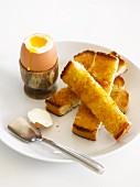 A soft-boiled egg and soilders