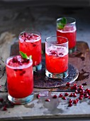 Pomegrante cocktails with mint