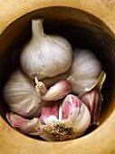 Garlic in a mortar (close-up)