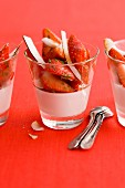 Strawberry salad with coconut panna cotta