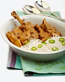 Chicken curry with coconut milk and ginger (Thailand)