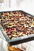 Damson tray bake with almonds
