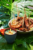 Grilled prawns with coconut sauce