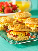 American biscuits filled with scrambled eggs, Cheddar cheese and bacon