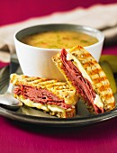 Soup and toasted pastrami and cheese fingers
