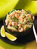 Fusilli with prawns, peppers and lemon
