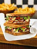 Roast beef and Stilton cheese sandwiches