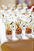 Chocolate cream garnished with physalis on a buffet