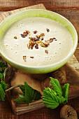Autumnal cream of chestnut soup