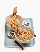 Hazelnut ice cream with wafer spirals