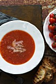Tomato soup and toasted bread
