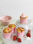 Strawberry marshmallow cupcakes decorated with sugar pearls