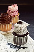 Three different cupcakes