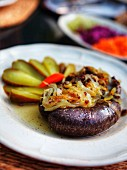 Blood sausage with onions and gherkins